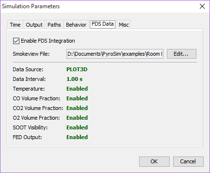 path ui dialog simulation parameters