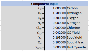 pyro comb spreadsheet input reaction