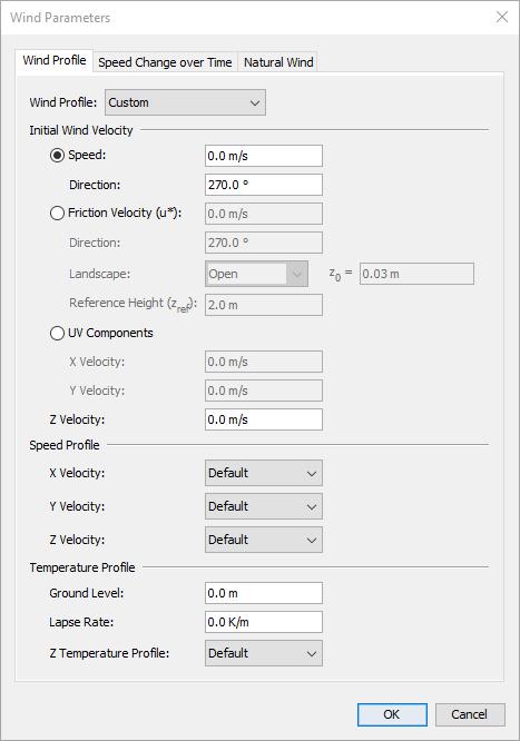 pyro dialog wind parameters